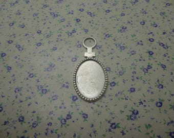 12 pcs of antique silver color metal mirror pendant charm , oval Cameo Cabochon Base Settings Match 25*18mm cab one sided tray blank , MP918