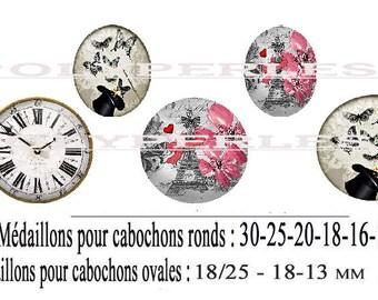 Image digital oval round digital Paris clock Flower hat