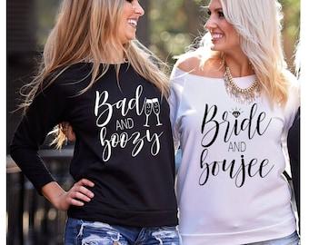Bachelorette Party Shirts, Bride and Boujee, Bad and Boozy, Bad and Boozy Shirt, Bride and Boujee Shirt, Bachelorette Shirts