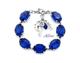 LA BELLE ÉPOQUE 18X13mm Majestic Blue Georgian Style Bracelet Swarovski Crystal *Antique Silver *Karnas Design Studio™ *Free Shipping