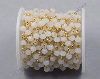 2ft, White Rosary Chains With Gold Plated -- Faceted Crystal Czech Glass Beaded Chain Wholesale Handmade Craft Supply CQA-035-23
