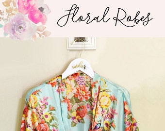 Floral Bridesmaid Robes Set - You Choose Qty - Floral Bridal Robes - Wedding Day Robes (EB3152)