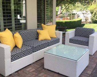 Sunbrella Custom Replacement Outdoor Furniture Cushion Covers Luxe Indigo Part 72