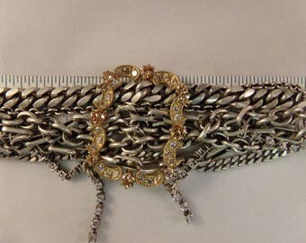 Silver Tone Multi Chain and Gold Tone Belt Buckle Bracelet