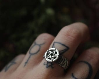 Sterling silver pentagram ring on witch band custom magic goth gothic wicca occult pagan dark satan witchcraft witchy