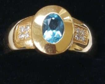 Topaz and Diamond 18ct Gold Ring - Wide Band - Blue Gemstone