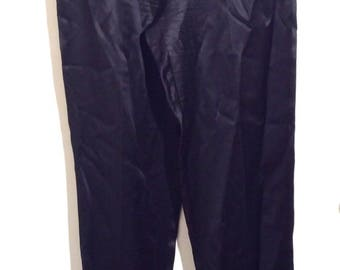 Vintage 1990s Shanghai Tang Designer Black Silk Pants/100% Silk/High Waisted with Tapered Legs