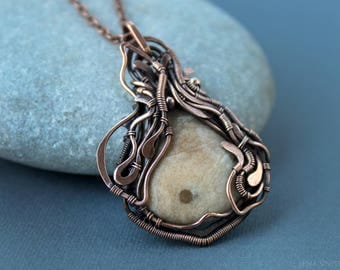 Jasper pendant Wire wrapped jewelry Wire wrap necklace Handmade necklace Big long chain Boho necklace Gift for her Copper jewelry Woman gift