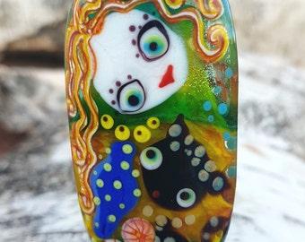 Handmade lampwork glass bead, artisan focal beads lampwork necklace pendant Girl and cat