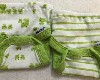 Baby Doll Diaper Covers, Panty, 15 inch AG Bitty Baby Clothes/Twin, Fits 16 inch Cabbage Patch Doll, SET of 2 for 3.00, Cute FROGS & Stripes