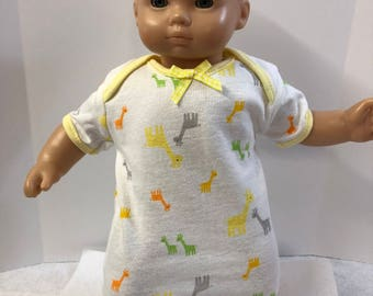 "15 inch Bitty Baby Clothes, Adorable ""MOMMY & Baby GIRAFFES"" Nightgown, 15 inch AG American Doll Bitty Baby or Twin, Fits Cabbage Patch Doll"