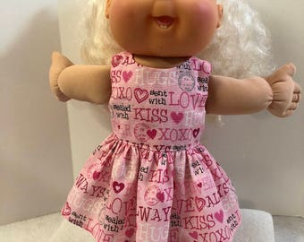 "Cabbage Patch KIDs 14 inch BABY Doll Clothes, Adorable ""LOVE-Hugs-XOXO"" Dress, 14 inch CPKids Baby Doll, I love My Dolly Dress! Pink Hearts!"
