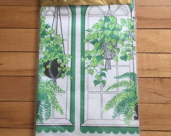 Vintage 1970s Perkins Hanging Plants Paper Tablecloth!