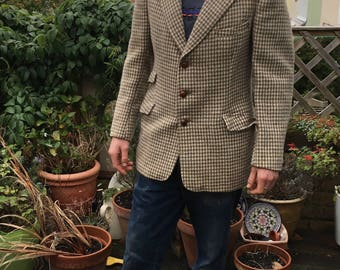 "Vintage Hepworths Dogtooth Harris Tweed Jacket-38"" Chest-GC"