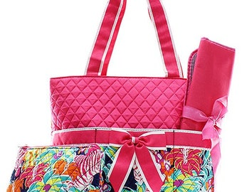 Personalized Multi Zebra Flower Print with Hot Pink Quilted Diaper Bag * Custom Embroidered Diaper with Name * Monogrammed Baby Shower Gift