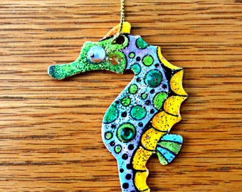 Sea Horse Christmas Ornament - Hand Drawn and Painted - One of a Kind