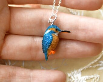 Hand sculpted kingfisher pendant and chain