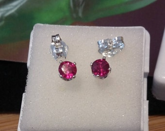 Ruby Earring natural top fire 4mm 925 sterling silver , stud