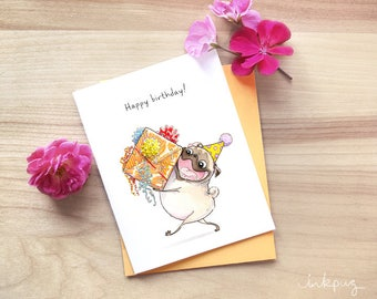 Wrapped it Myself pug birthday cards, cute birthday cards, unique happy birthday card with pug and big present, pug gift card by Inkpug