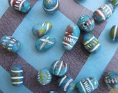 Turquoise Clay Beads Exotic Ceramic Beads Ethnic Boho Carved Beads White Etched Hippie Bead Pendants Exotic Unique Colorful Tribal Beads