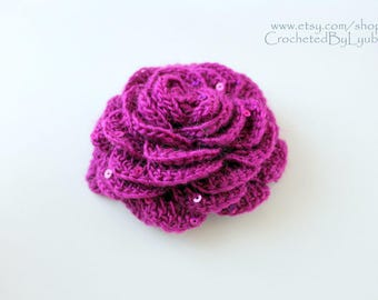 Purple Rose Flower Crochet Brooch - Handmade Flower Brooch - Rose Flower - Unique Crochet Women's Gift - Hand Crocheted Item - Ready to Ship