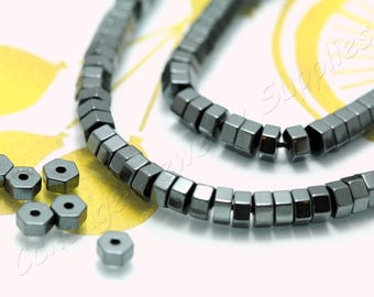Hexagon Hematite, (4mm x 2,2mm) Hexagon Flat Hematite Beads, 1 Strand (95 pcs) Black Tiny Hematite Beads, Natural Hematite Beads / HBY-070
