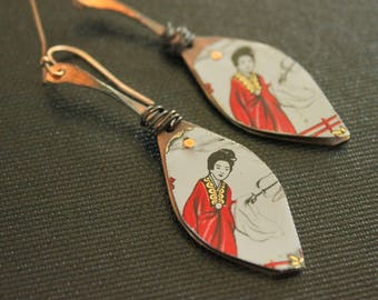 Geisha Earrings - Upcycled Jewelry - Tin and Copper - Riveted Earrings - Handmade - Asian Style - Oxidized Copper - Teardrop Earrings - Boho