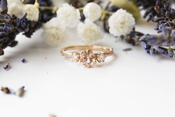 Ready to ship- Morganite and rose gold twig engagement ring, twig nature moissanite morganite ring, three stone ring, 14k engagement ring