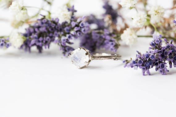 14k gold moonstone engagement ring, gold twig engagement ring