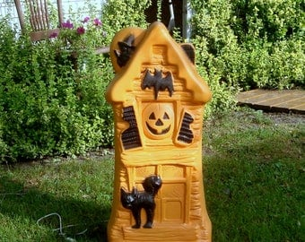 "Vintage General Foam 33"" Haunted House Blowmold Lighted Halloween Yard Decoration"