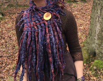 The 'Elbereth' Woven Scarf, Felted Wool Scarf, Dreadlock Scarf, Pixie, Faerie Cowl, Art Scarf