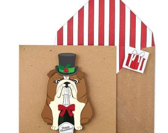 British Bulldog Christmas Card - Unique Handmade Christmas Card with Matching Envelope - Card or Pack