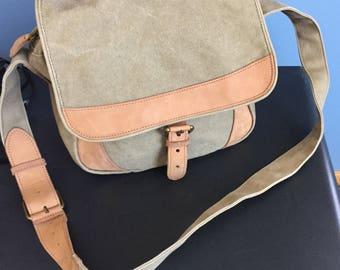 Vintage LL Bean Khaki Canvas and Tan Leather Flap Crossbody Handbag