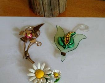Vintage MCM Era Flower Power Jewelry Pins