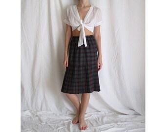 80s High Waist Plaid Skirt Small