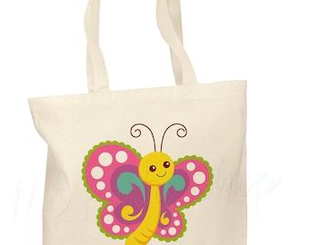 Personalized Cotton Tote Bag Kids Book Bag Custom Book Bag - Girl Butterfly bag - Preschool bag