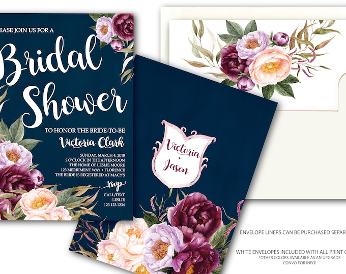 Burgundy Floral Bridal Shower Invitation / Navy / Wedding Shower / Watercolor / Purple / Pink / Blue / Flowers / Wine / FLORENCE COLLECTION