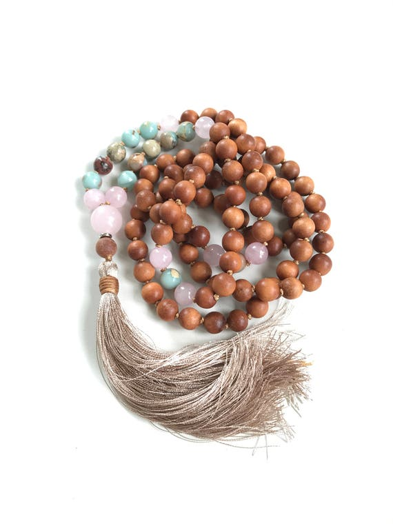 African Opal Mala Necklace, Long Tassel Mala Beads, Yoga Meditation Beads, 108 Mala Beads, Hand Knotted 108 Bead Mala