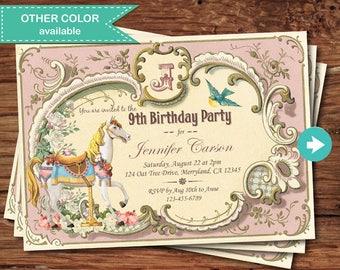 Carousel birthday invitation. Vintage Pony party, carousel horse, carnival, Shabby boho chic circus pink printable digital invite KB173