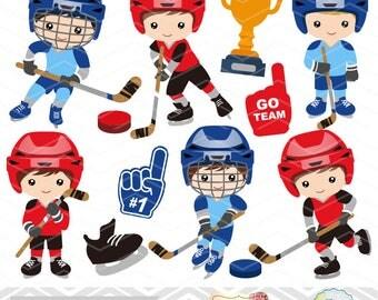 INSTANT DOWNLOAD Hockey Boys Digital Clipart, Hockey Boys Digital Clip Art, Digital Hockey Game Clipart, Boys Hockey Team Clip Art, 0251