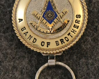 "IN STOCK UNLESS Personalized Custom handcrafted Past Master Masonic key chain ""Masons' across top, ""A  Band Of Brothers"" across bottom."