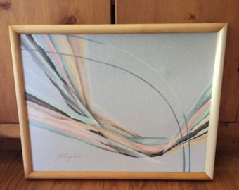 Vintage Abstract In Pastel Painting Signed Kingston