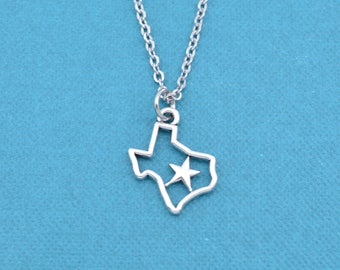 Texas Necklace. Texas Jewelry.  Texas Charm.  Silver necklace.  Lone Star State.  Gift for Her.
