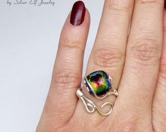 Rainbow ring, colorful ring with Swarovski crystal, adjustable ring, statement ring, elegant jewelry, wire ring