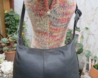 On Sale 1980s Crossbody Hobo Bag Purse Tote Handbag Black Leather Vintage Sling Slouch Pebbled Large