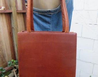 On Sale Brown Leather Shopper Tote Whiskey Cognac Vintage 80s 1980s Satchel Bag Purse Handbag Hard Leather