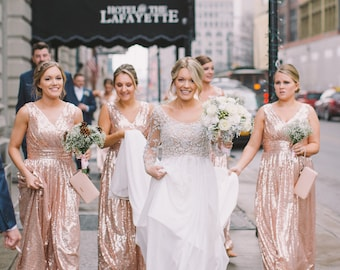 Rose gold bridesmaid dress / 'Rosie' / Sequin bridesmaid dress / Wedding party / Blush bridesmaids / Flattering sparkle / Junior bridesmaid
