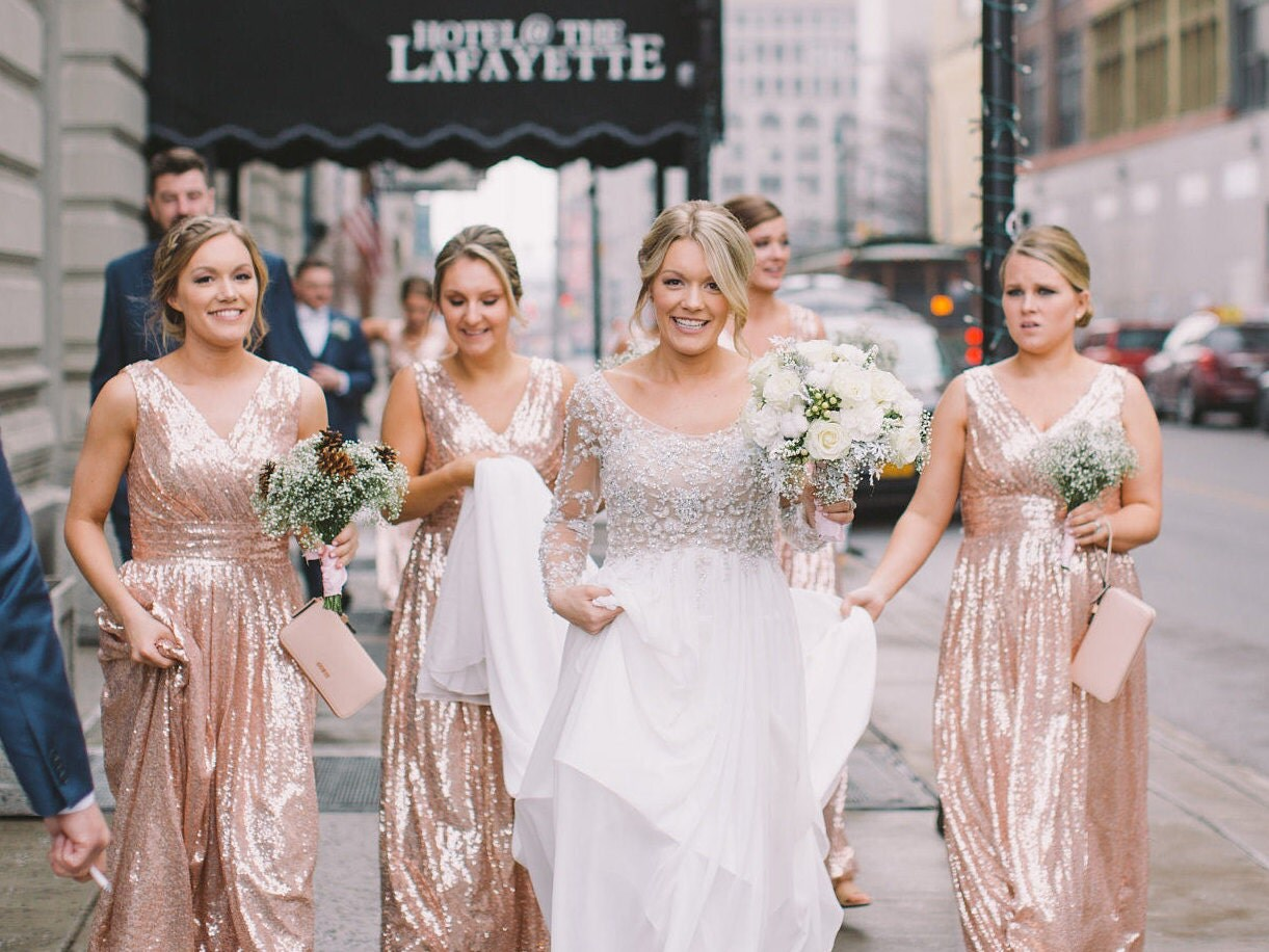 Rose gold bridesmaid dress rosie sequin zoom ombrellifo Choice Image