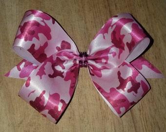 Medium Pink Camouflage Hair Bows
