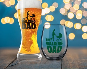 The Walking Dad, Funny Gift for Dad, Funny Dad Present, Dead Head Gift for Dad, Beverage Cold Brew Father, Dad Wine Glass, Dad Beer Glass